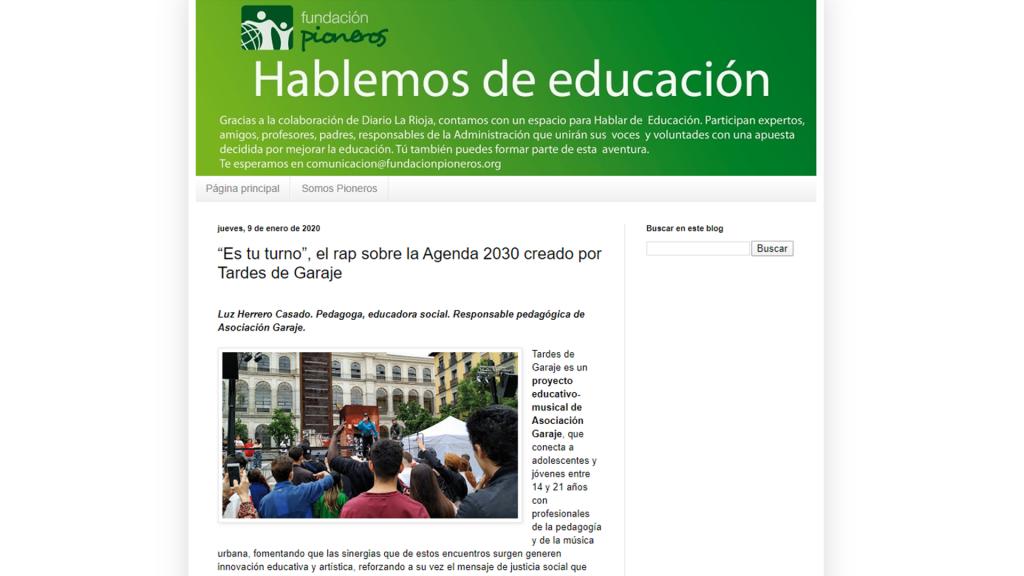 """TARDES DE GARAJE EN EL BLOG """"HABLEMOS DE EDUCACIÓN"""" DE FUNDACIÓN PIONEROS"""